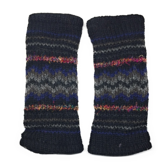 f5da3193db5 Knit Fingerless Stripe Texting Gloves Fleece Lined